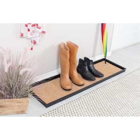 Natural and Recycled Rubber Boot Tray with Tan and Blue Coir Insert