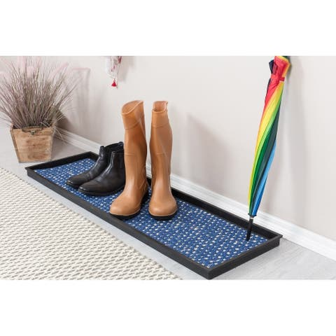 Natural and Recycled Rubber Boot Tray with Blue and Ivory Coir Insert