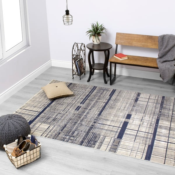 Anchor Hatching Gray/Blue Area Rug