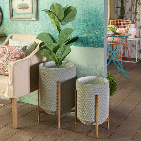 2-Piece Metal Floor Planters with Metal Stands
