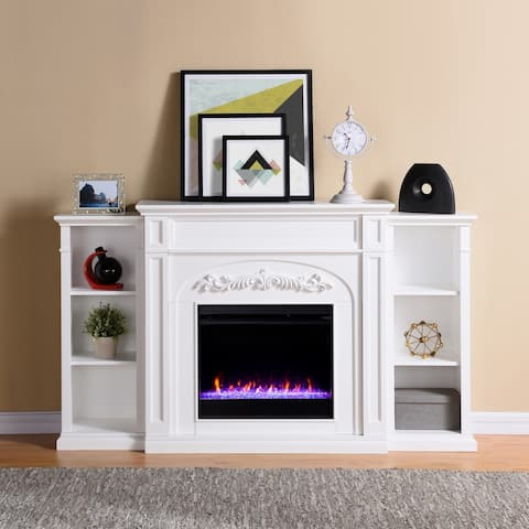 Copper Grove Cherlisse White Color Changing Fireplace with Bookcases