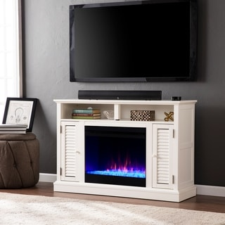 Porch & Den Andersen White Color Changing Media Fireplace with Storage