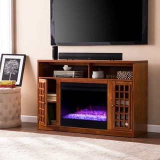 Copper Grove Nylah Brown Color Changing Media Fireplace with Storage