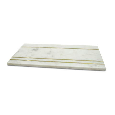 Small White Marble and Brass Cheese Board