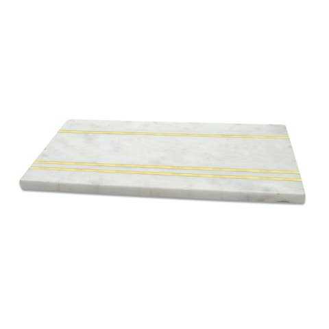 Medium White Marble and Brass Cheese Board