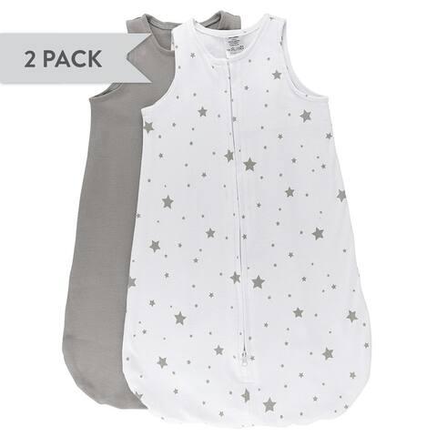 Cotton Wearable Blanket Sleep Bag-2 pk-Grey-Large 6-12 Months