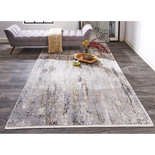 Grand Bazaar Lindstra Ivory/Gray 8 x 11 Abstract Contemporary Area Rug - 8' x 11'