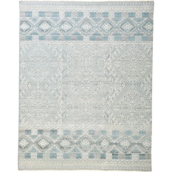 Grand Bazaar Eckhart Gray/Blue 6 x 9 Handmade Viscose and Wool Rug - 6' x 9'