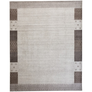 Grand Bazaar Yurie Light Gray 10 x 13 Handwoven Wool and Viscose Rug - 10' x 13'