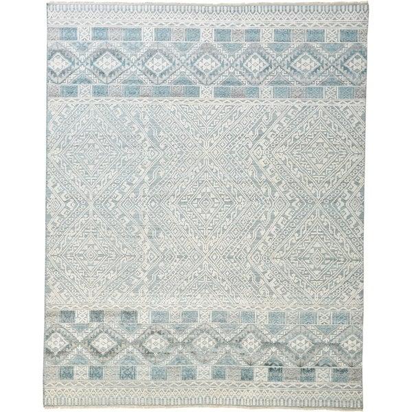 Grand Bazaar Eckhart Gray/Blue 10 x 14 Handmade Viscose and Wool Rug - 10' x 13'