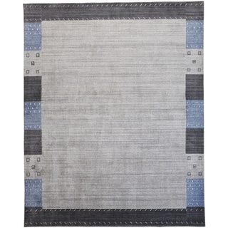 Grand Bazaar Yurie Gray/Blue 6 x 9 Handwoven Wool and Viscose Rug - 6' x 9'