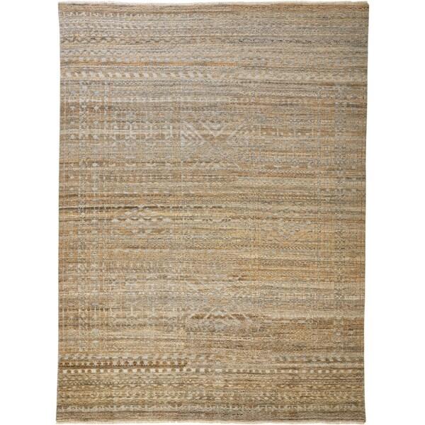 Grand Bazaar Eckhart Brown/Gray 12 x 15 Handmade Viscose and Wool Rug - 12' x 15'