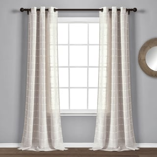 "Lush Decor Farmhouse Textured Grommet Sheer Window Curtain Panel Pair - 84"" x 38"""