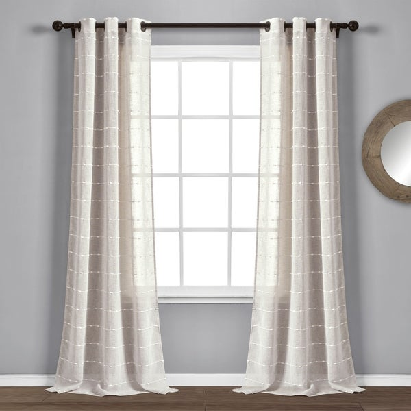 "Lush Decor Farmhouse Textured Grommet Sheer Window Curtain Panel Pair - 84"" x 38"" - 84"" x 38"". Opens flyout."