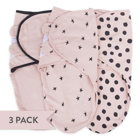 Adjustable Swaddle Small pink dots+stars+solid 3 pk