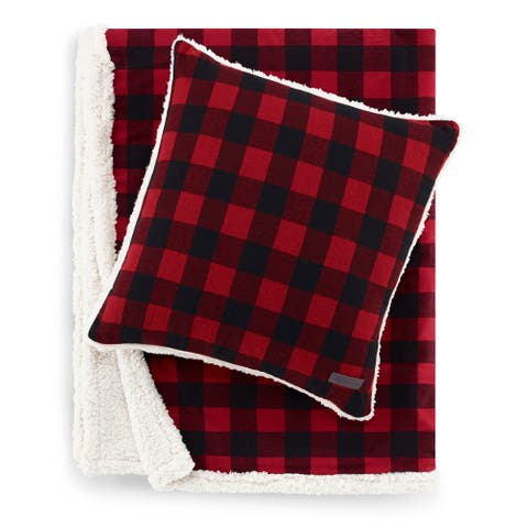 Eddie Bauer Cabin Plaid Red Sherpa Throw and Pillow Set