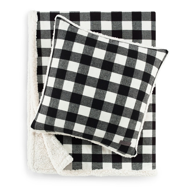 Eddie Bauer Cabin Plaid Black Sherpa Throw and Pillow Set. Opens flyout.