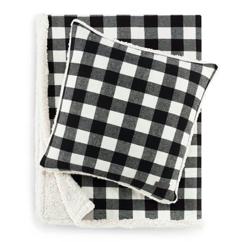 Eddie Bauer Cabin Plaid Black Sherpa Throw and Pillow Set