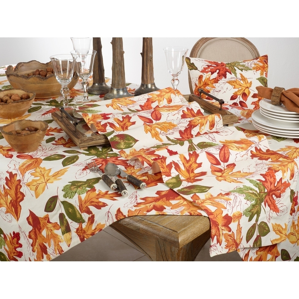 Autumn Table Runner With Embroidered Leaves Design Overstock 29643397