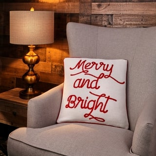 """Embroidered  """"Merry And Bright"""" Pillow - 18"""" x 18"""""""