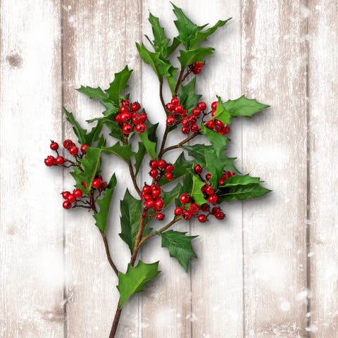 """32"""" Natural Look Holly Berry Spray Set of 2 - 32-Inch"""