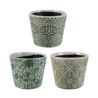 Crackled Green Naturespire Planters (Set of 3)