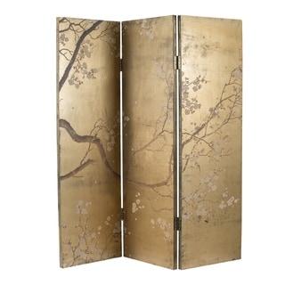 Multi Color Cherry Blossom Wooden Tri-fold Screen