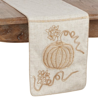 Jute Table Runner with Embroidered Pumpkin Design