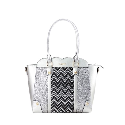 LANY Scalloped Edge Chevron Glitter Shoulder Bag with Wallet Set