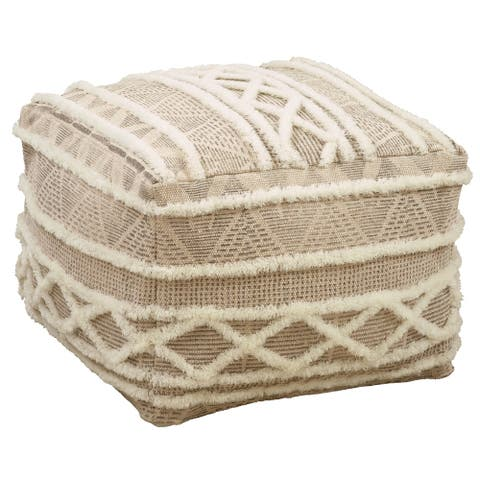 Embroidered Pouf With Printed Design