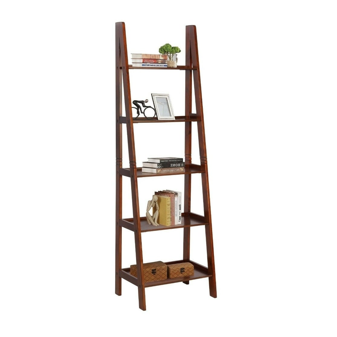 Wall Shelf Ladder Cherry Wood Bookshelf