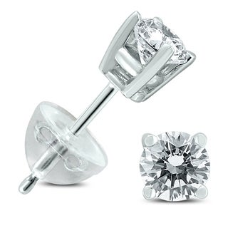 14kt White Gold Womens Round Diamond Solitaire Stud Earrings 14 Cttw