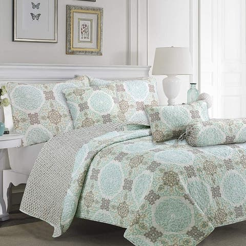 Cozy Line Light Green Aqua Damask Reversible Bedding Quilt Set