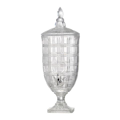 Clear and Polished Silver 21-inch Grid Pattern Lidded Drink Dispenser