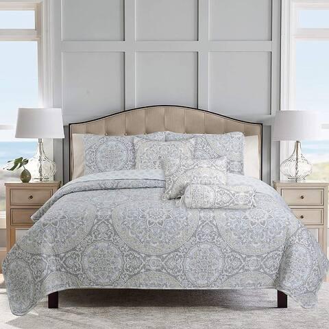 Cozy Line Venetia Gray Medallion Reversible 3-Piece Quilt Bedding Set