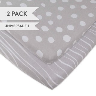 Changing Pad Set-Cradle Sheet Set-Jersey Cotton-2 Pack-Grey