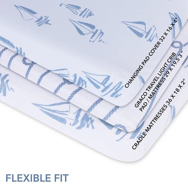 Changing Pad Cover-Cradle Sheet Set Cotton Jersey Knit-2 Pack-Blue