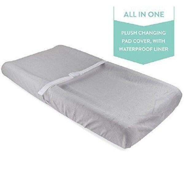 Waterproof Plush Velvet Change Pad Cover-Grey
