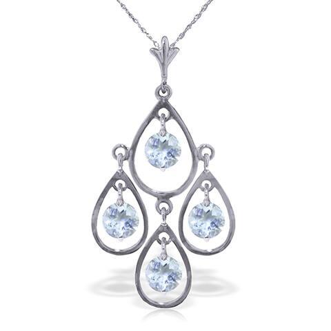 1.2 Carat 14K White Gold Proven Innocent Aquamarine Necklace