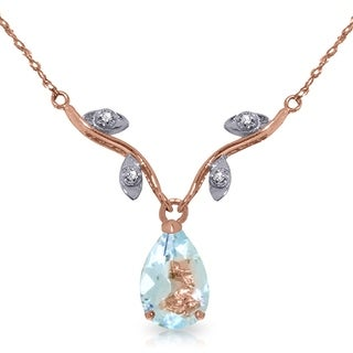 Link to 14K Rose Gold Necklace w/ Natural Diamonds & Aquamarine Similar Items in Necklaces