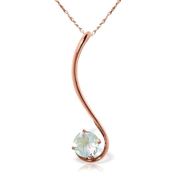 14K Rose Gold Natural Aquamarine Necklace Gemstone. Opens flyout.