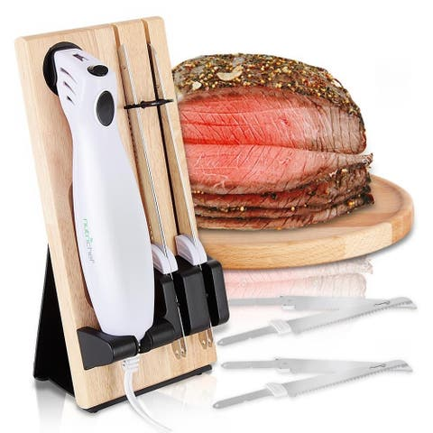 Nutrichef Portable Electrical Food Cutter Knife Set with Bread and Carving Blades, Wood Stand, One Size (White)