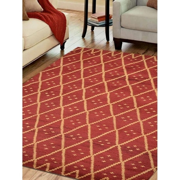 Transitional Geometric Hand Knotted Carpet Indian Oriental Area Rug