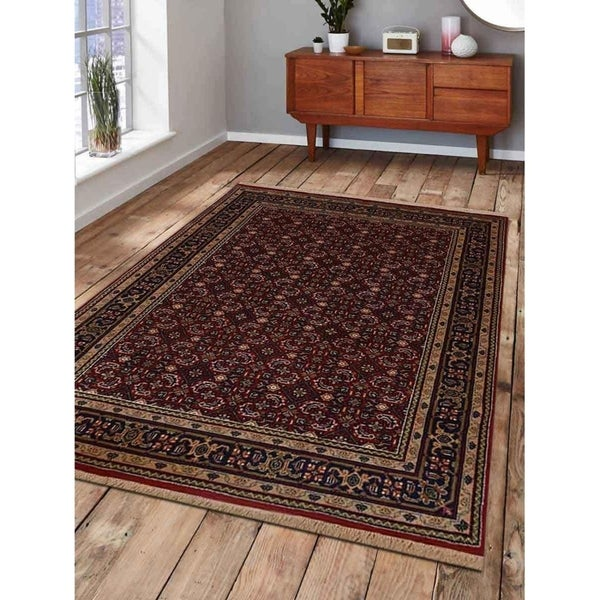Hand Knotted Traditional Bordered Nir Carpet Oriental Indian Area Rug