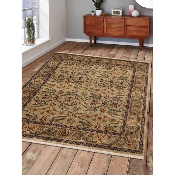 Hand Knotted Bordered Nir Carpet Oriental Indian Traditional Area Rug