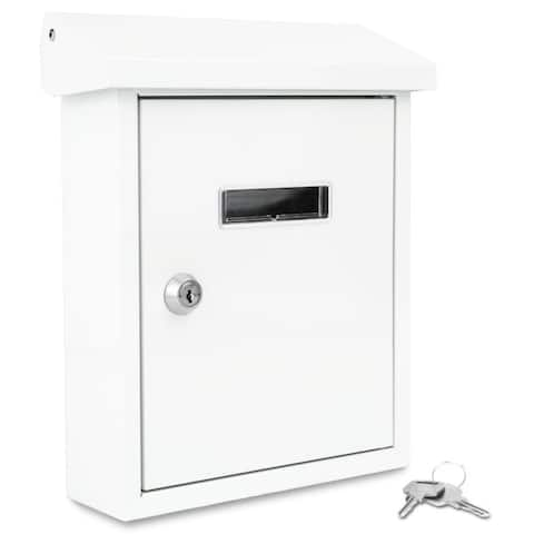 SereneLife Indoor/Outdoor Wall Mounted Entryway Locking Mailbox (White)