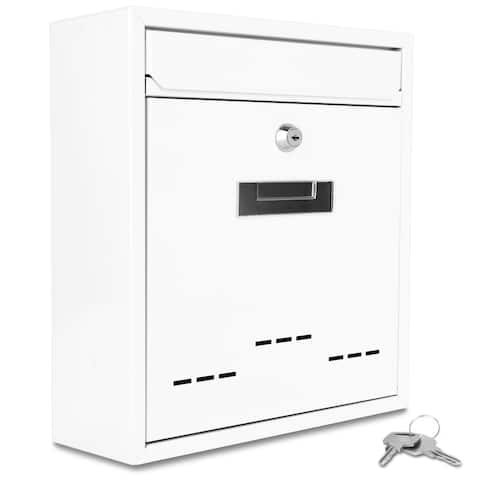 SereneLife Indoor/Outdoor Wall Mounted Modern Durable Locking Mailbox Large Capacity(White)