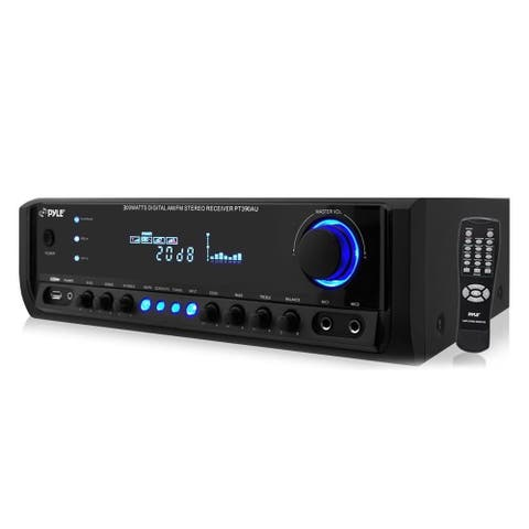 Pyle Digital Home Theater Stereo Receiver, MP3/USB/AM/FM Radio, (2) Mic Inputs 300 Watt