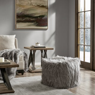 Madison Park Adelaide Eyelash Faux Fur 18-inch Pouf with Zippered Closure in Ivory (As Is Item)