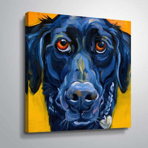 """Black dog"" Gallery Wrapped Canvas"
